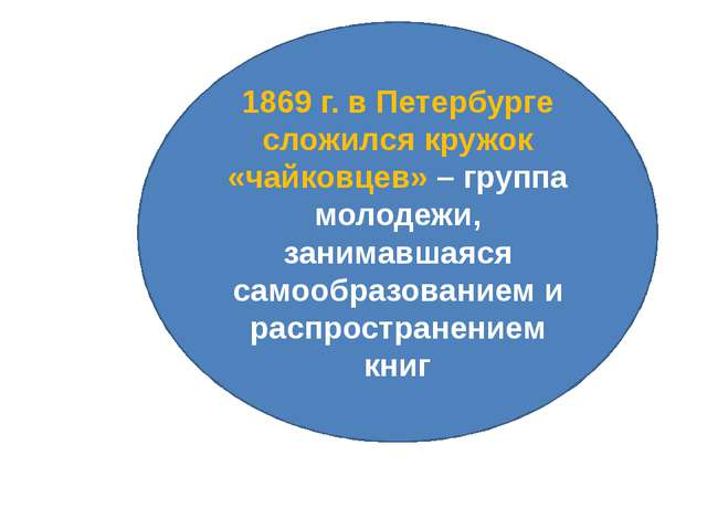 1869 г. в Петербурге сложился кружок «чайковцев» – группа молодежи, занимавша...