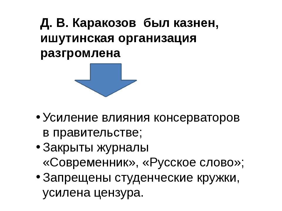 Д. В. Каракозов был казнен, ишутинская организация разгромлена Усиление влиян...
