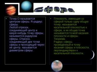 .. Точка О называется центром сферы, R-радиус сферы. Любой отрезок, соединяющ