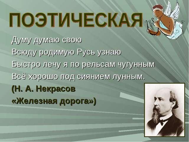 Думу думаю свою Всюду родимую Русь узнаю Быстро лечу я по рельсам чугунным Вс...