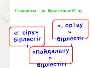 Сыныпты үш бірлестікке бөлу «Өсіру» бірлестігі ййцвапррррррррпр «Пайдалану» б