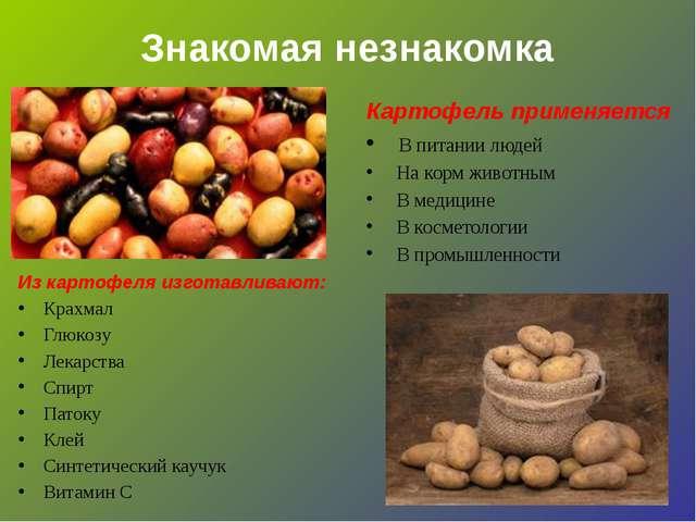 Знакомая незнакомка Картофель применяется В питании людей На корм животным В...