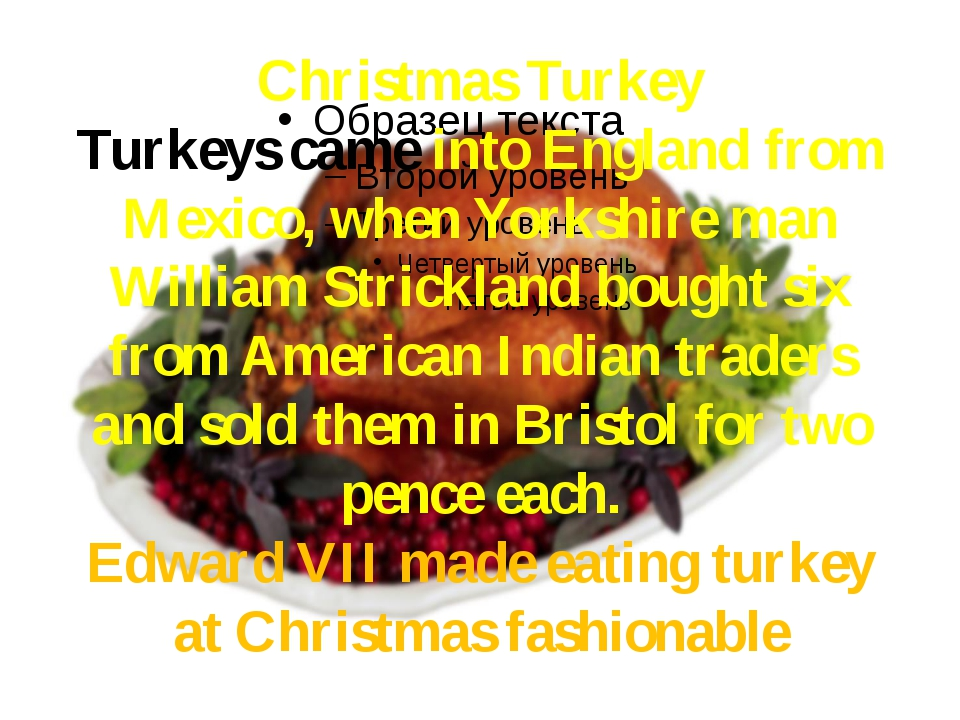 Christmas Turkey Turkeys came into England from Mexico, when Yorkshire man Wi...