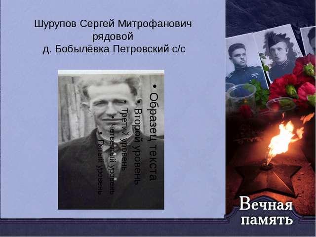 Шурупов Сергей Митрофанович рядовой д. Бобылёвка Петровский с/с