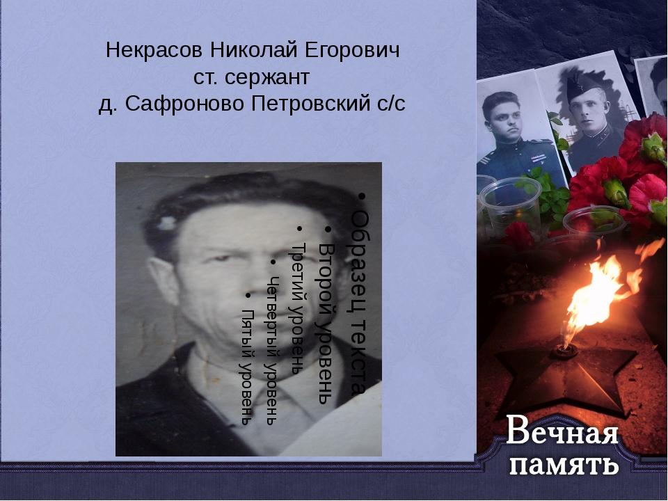 Некрасов Николай Егорович ст. сержант д. Сафроново Петровский с/с
