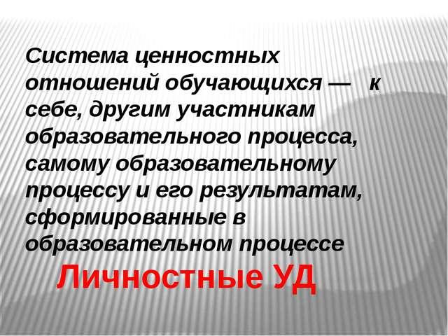 . Личностные УД Система ценностных отношений обучающихся— к себе, другим уч...