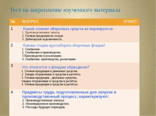 Тест на закрепление изученного материала № ВОПРОС ОТВЕТ 1 Какой элемент оборо