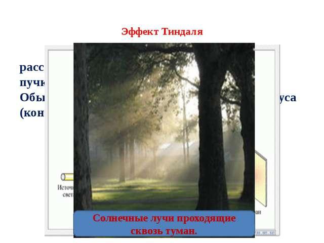 Эффект Тиндаля рассеяние света при прохождении светового пучка через оптичес...