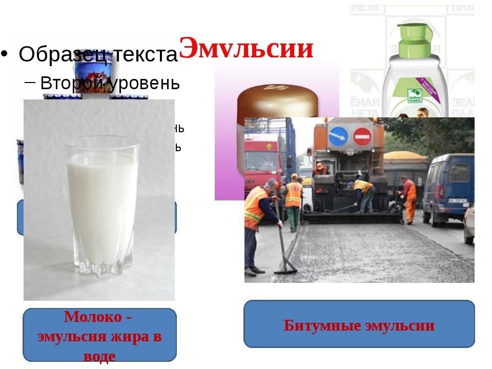 Эмульсии Водоэмульсионные краски Лечебная косметика Молоко - эмульсия жира в...
