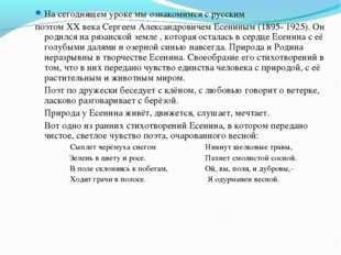 На сегоднящем уроке мы ознакомимся с русским поэтом ХХ века Сергеем Александр