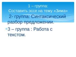 2- группа: Синтаксический разбор предложении. 3 – группа : Работа с текстом.