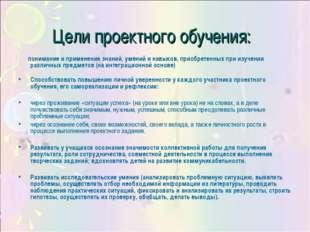 Цели проектного обучения: понимание и применение знаний, умений и навыков, пр