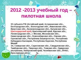 2012 -2013 учебный год – пилотная школа 33 субъекта РФ (Алтайский край, Астра