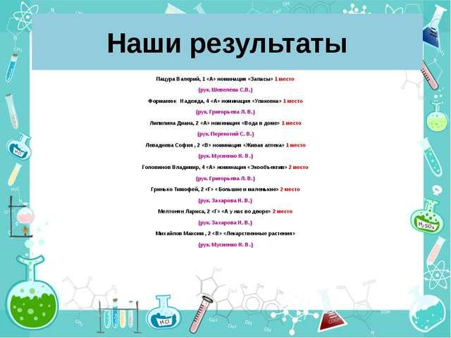 Наши результаты Пацура Валерий, 1 «А» номинация «Запасы» 1 место (рук. Шевелё...