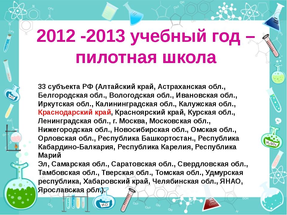 2012 -2013 учебный год – пилотная школа 33 субъекта РФ (Алтайский край, Астра...