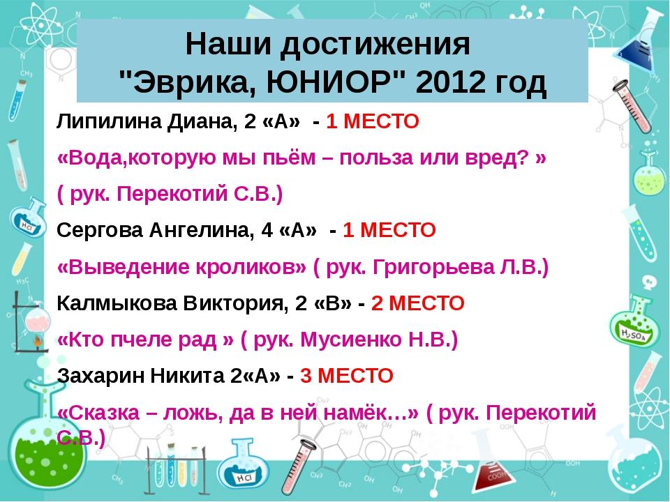 "Наши достижения ""Эврика, ЮНИОР"" 2012 год Липилина Диана, 2 «А» - 1 МЕСТО «Вод..."