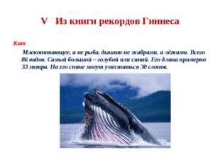 V Из книги рекордов Гиннеса Кит Млекопитающее, а не рыба, дышит не жабрами, а