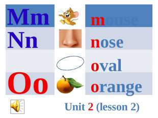 Mm Nn Oo mouse nose oval orange Unit 2 (lesson 2)