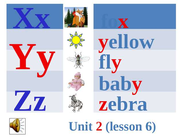 fox yellow fly baby zebra Xx Yy Zz Unit 2 (lesson 6)