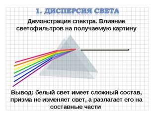Демонстрация спектра. Влияние светофильтров на получаемую картину Вывод: белы