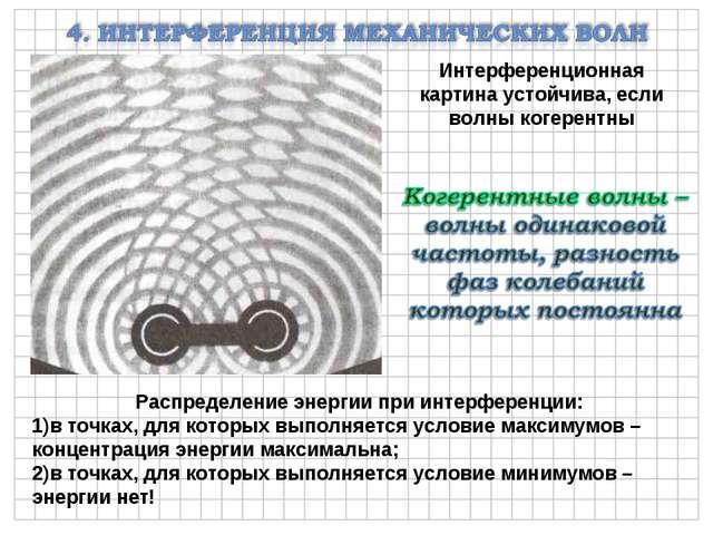 Интерференционная картина устойчива, если волны когерентны Распределение энер...