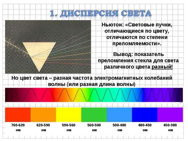 Ньютон: «Световые пучки, отличающиеся по цвету, отличаются по степени преломл...