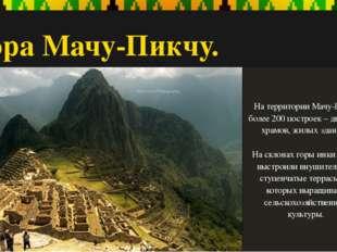 Гора Мачу-Пикчу. На территории Мачу-Пикчу более 200 построек – дворцов, храмо