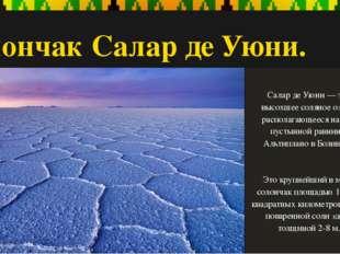 Солончак Салар де Уюни. Салар де Уюни — это высохшее соляное озеро, располага
