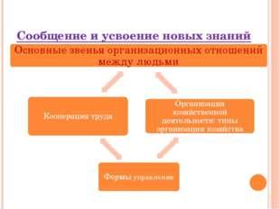 Сообщение и усвоение новых знаний