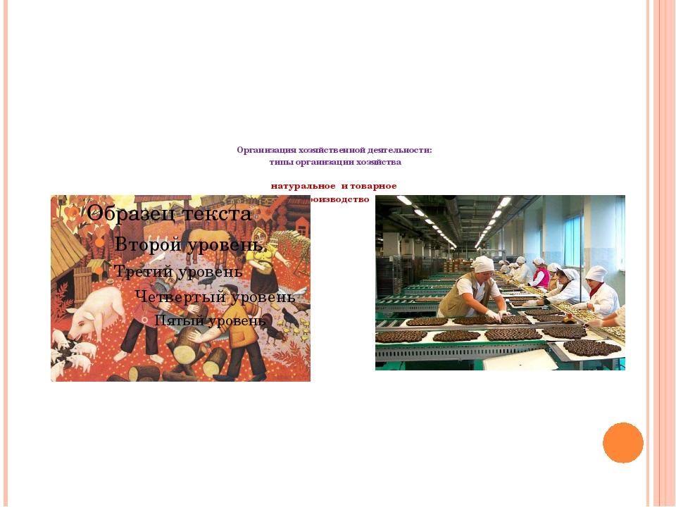 Организация хозяйственной деятельности: типы организации хозяйства натуральн...