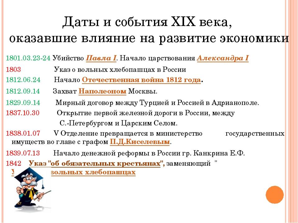 Даты и события XIX века, оказавшие влияние на развитие экономики 1801.03.23-2...