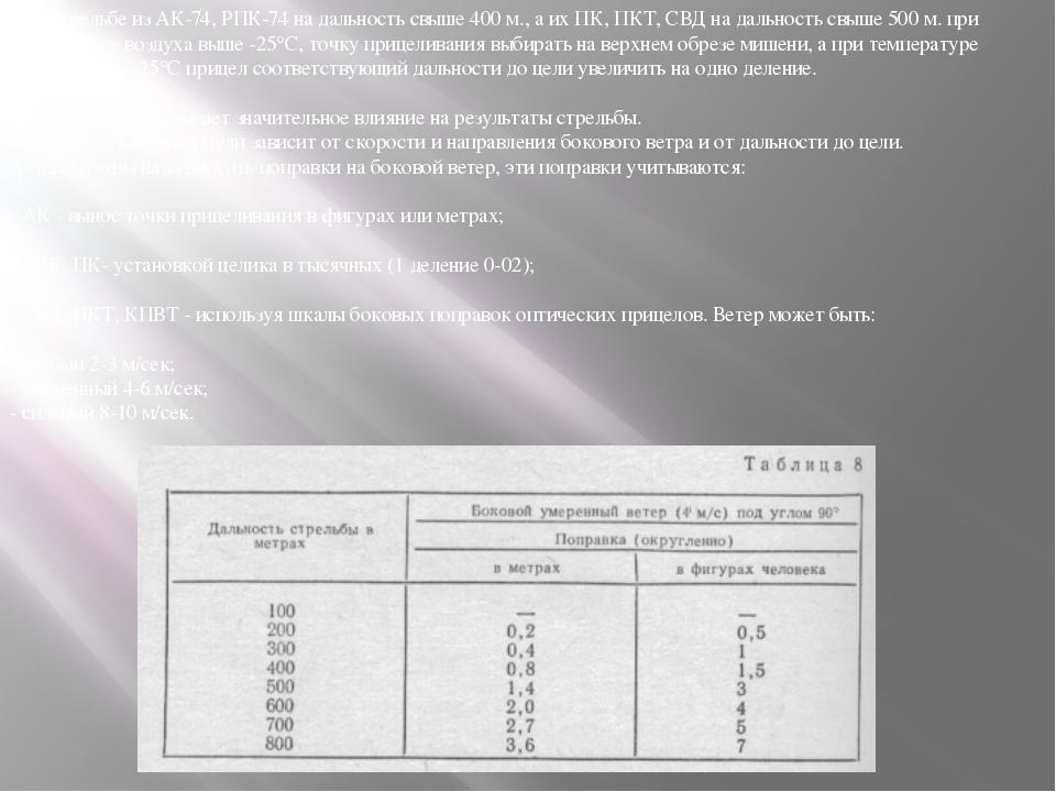 При стрельбе из АК-74, РПК-74 на дальность свыше 400 м., а их ПК, ПКТ, СВД на...