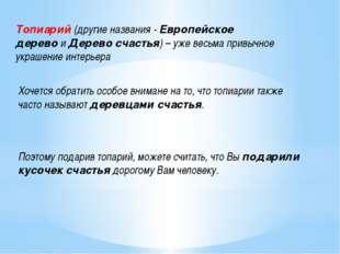 Топиарий(другие названия -Европейское деревоиДерево счастья)– уже весьма