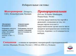 Избирательные системы: Мажоритарная (Беларусь, США, Великобритания, Франция П