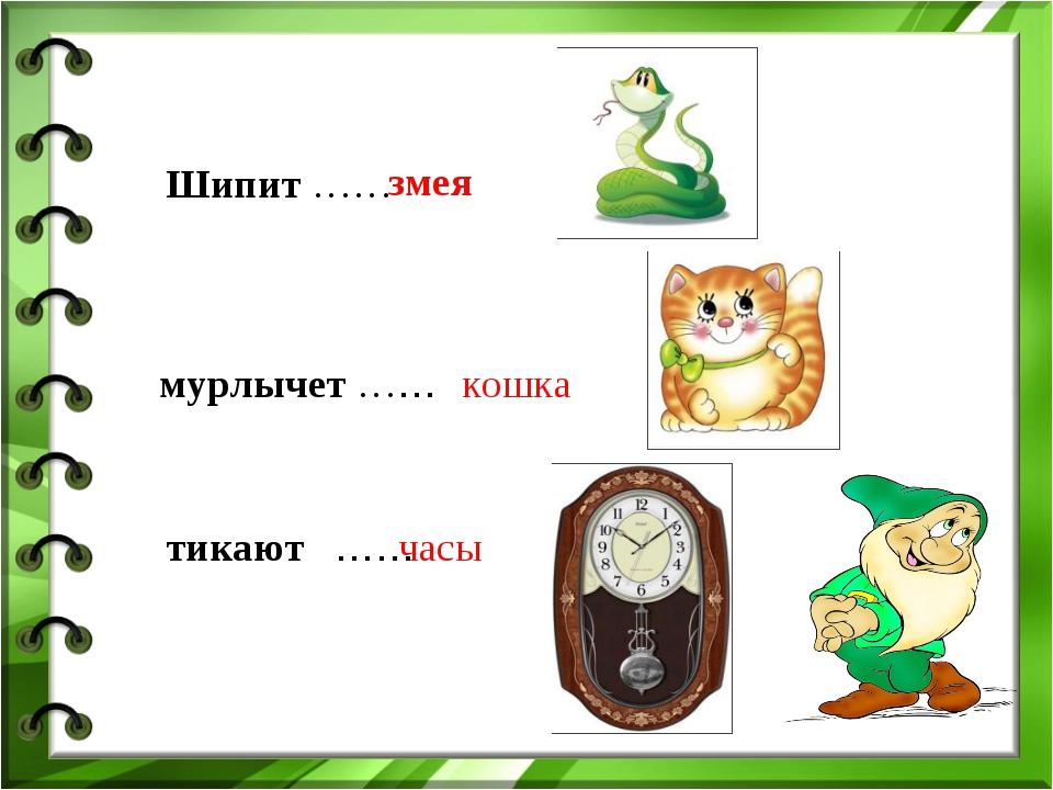 Шипит …… змея мурлычет …… кошка тикают …… часы