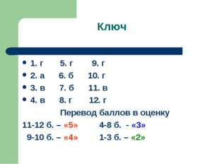 Ключ 1. г 5. г 9. г 2. а 6. б 10. г 3. в 7. б 11. в 4. в 8. г 12. г Перевод