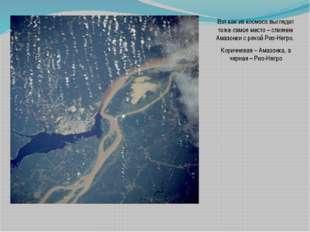 Вот как из космоса выглядит тоже самое место – слияние Амазонки с рекой Рио-Н