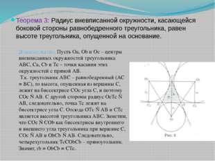Теорема 3: Радиус вневписанной окружности, касающейся боковой стороны равнобе