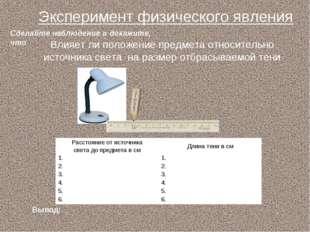 Влияет ли положение предмета относительно источника света на размер отбрасыва