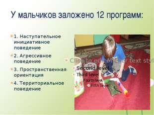 У мальчиков заложено 12 программ: 1. Наступательное инициативное поведение 2.