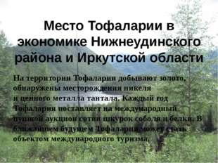 Место Тофаларии в экономике Нижнеудинского района и Иркутской области На терр