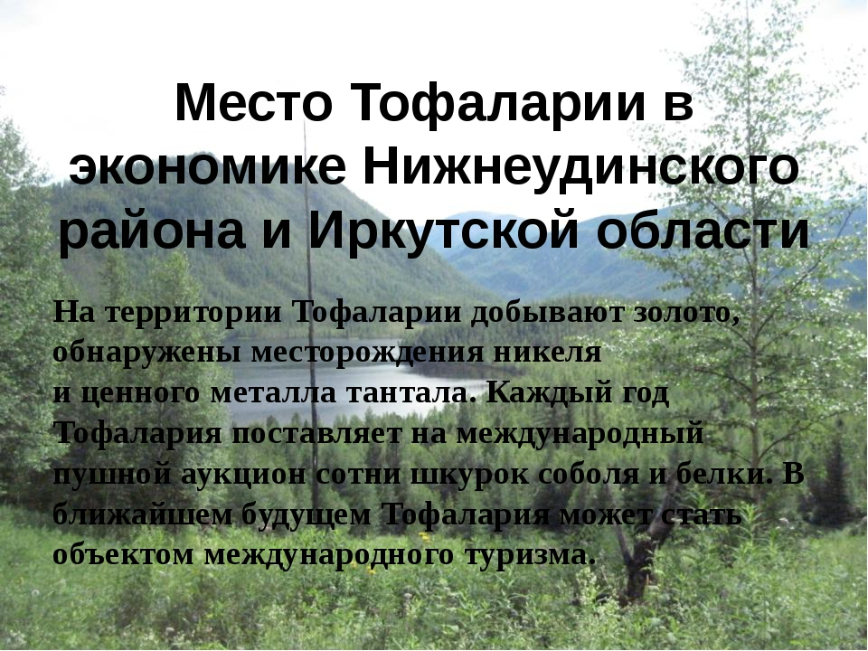 Место Тофаларии в экономике Нижнеудинского района и Иркутской области На терр...