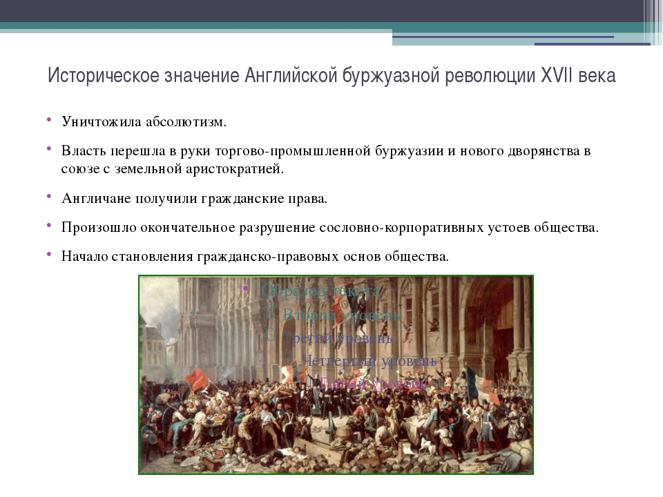 Историческое значение Английской буржуазной революции XVII века Уничтожила аб...