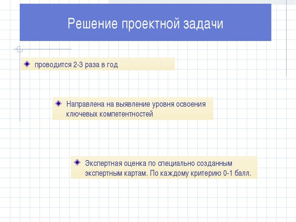 проводится 2-3 раза в год Решение проектной задачи Направлена на выявление ур...