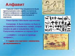 Алфавит Первыми элементами письменности были простые рисунки или зарубки на