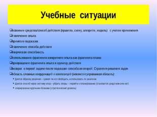 Учебные ситуации освоение средства/способ действия (правило, схему, алгоритм,