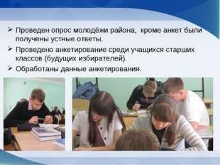 Проведен опрос молодёжи района, кроме анкет были получены устные ответы. Пров
