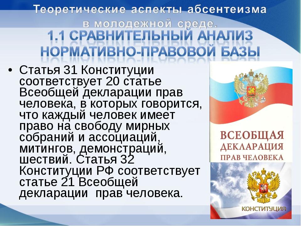 Статья 31 Конституции соответствует 20 статье Всеобщей декларации прав челове...