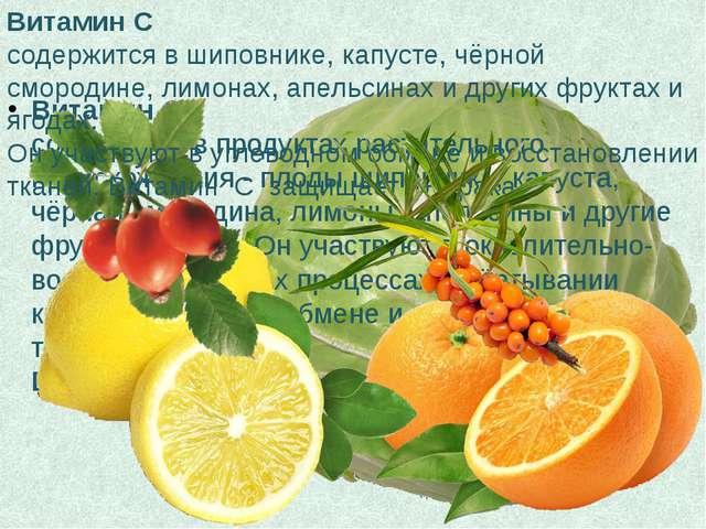 Витамин С содержится в продуктах растительного происхождения - плоды шиповник...