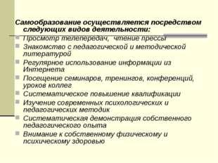 Самообразование осуществляется посредством следующих видов деятельности: Прос